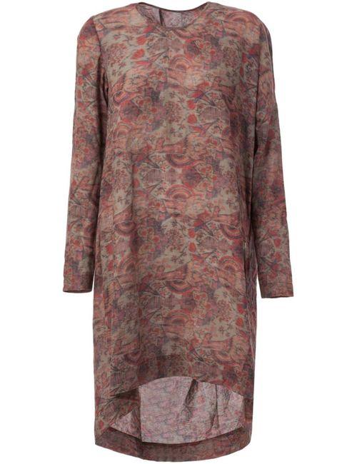 UMA WANG | Женское Красное Драпированное Платье-Шифт