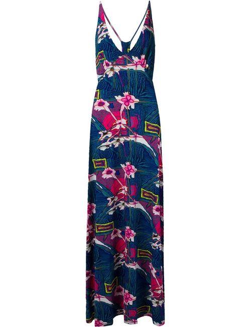 AMIR SLAMA | Женское Синее Длинное Платье С Цветочным Принтом