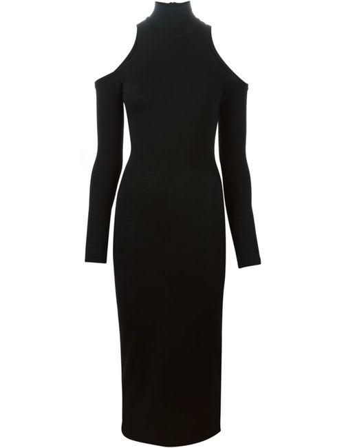 Balmain | Женское Чёрное Платье С Вырезными Деталями
