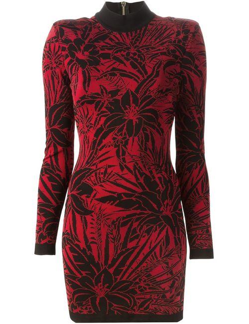 Balmain | Женское Красное Платье С Цветочным Узором