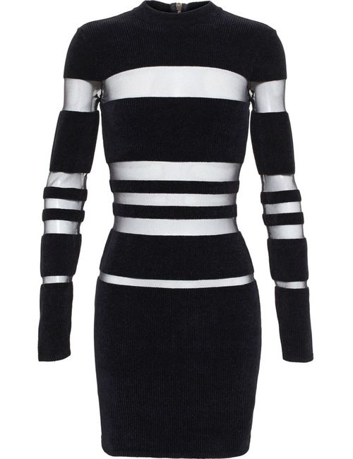 Balmain   Женское Чёрный Sheer Stripe Dress