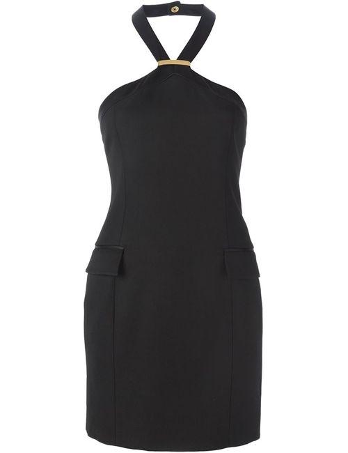 Balmain | Женское Чёрное Платье С Петлей-Хальтер