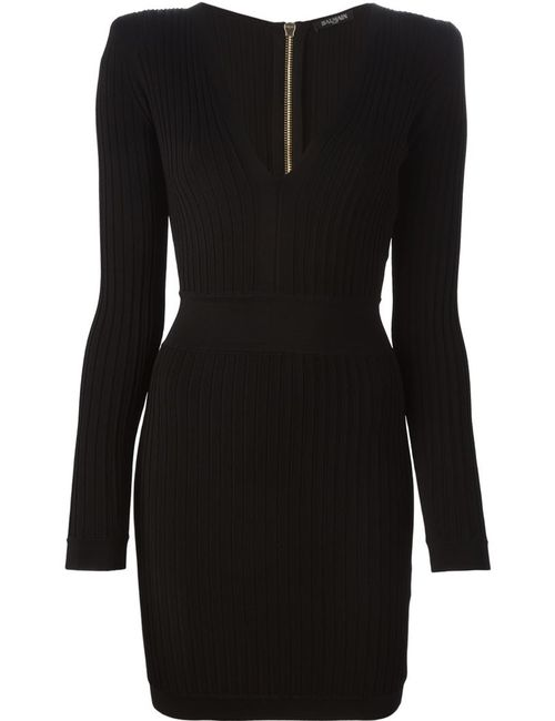 Balmain   Женское Чёрный V-Neck Knit Dress