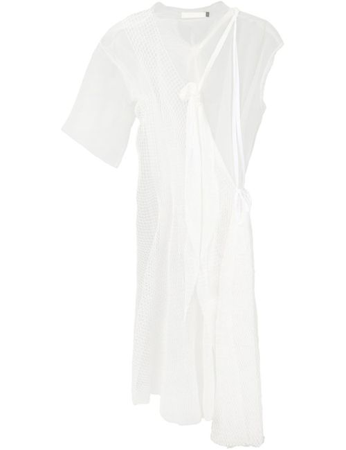 PHOEBE ENGLISH | Женское Белое Платье Миди С Сетчатой Панелью