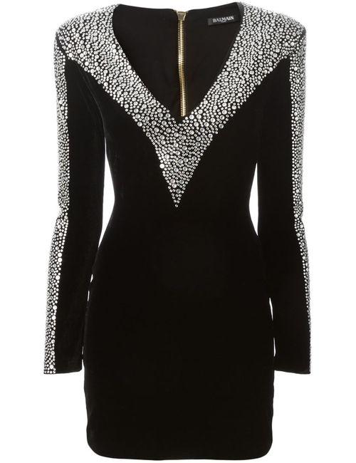 Balmain | Женское Чёрное Декорированное Приталенное Платье