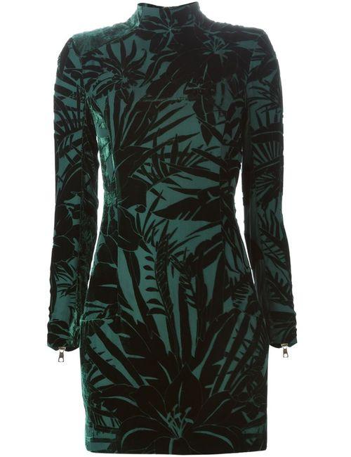 Balmain | Женское Зелёное Бархатное Платье С Цветочным Узором