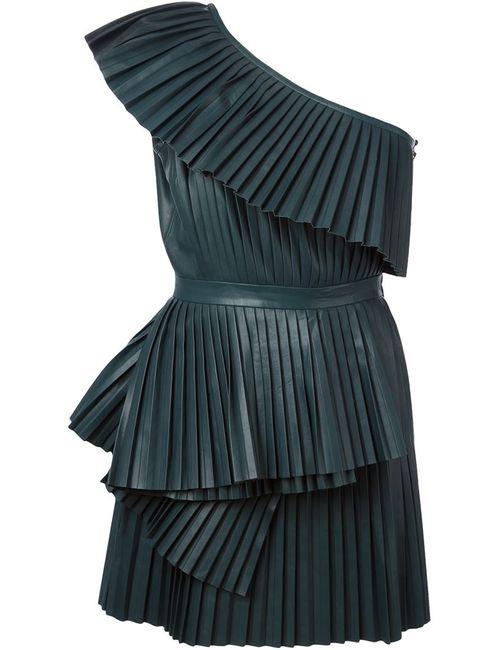 Balmain | Женское Зелёное Плиссированное Платье На Одно Плечо