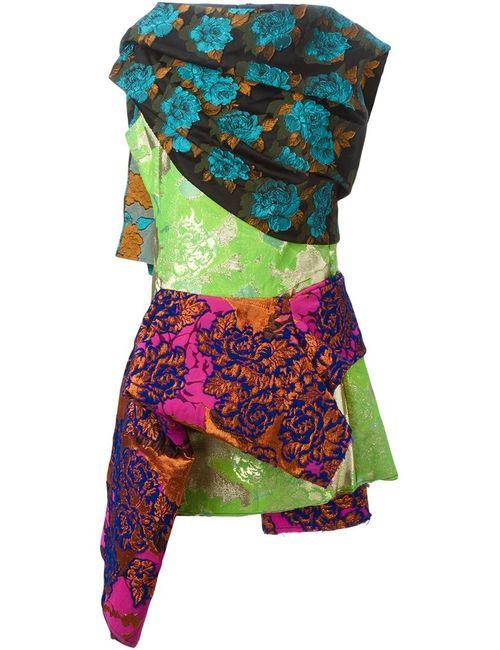 Marques Almeida | Женское Зелёное Парчовое Платье С Цветочным Узором