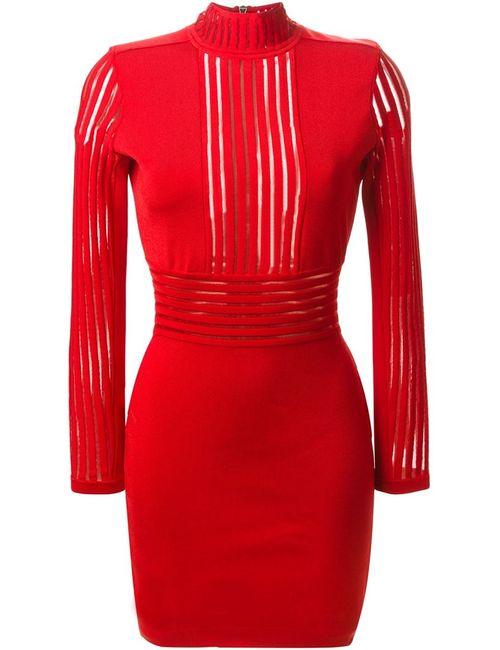 Balmain | Женское Красное Облегающее Платье