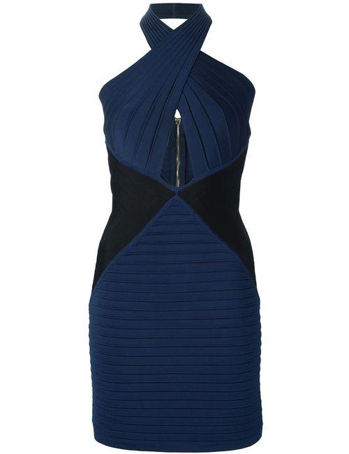 Balmain | Женское Синее Облагеющее Платье С Вырезами