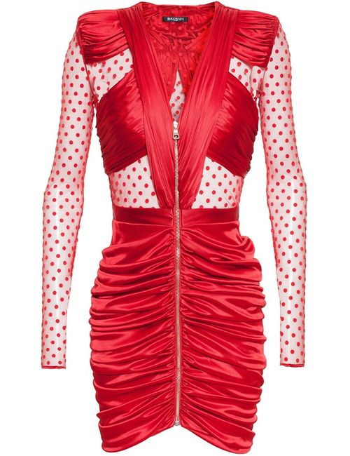 Balmain | Женское Красный Polka Dot Sheer Ruched Dress