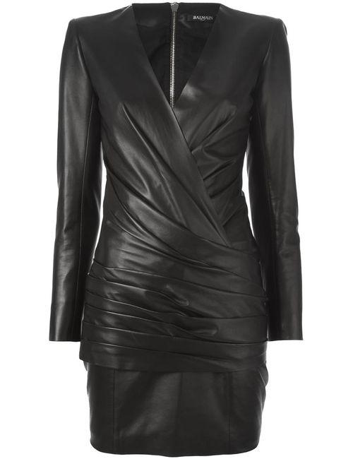 Balmain | Женское Чёрное Драпированное Платье
