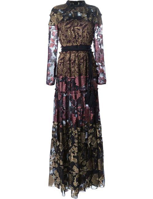 Lanvin | Женское Чёрное Прозрачное Вечернее Платье С Цветочным Узором