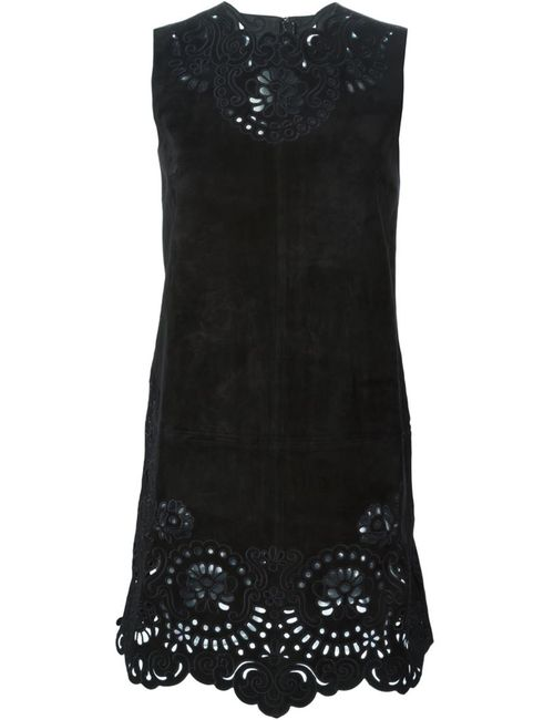 Dolce & Gabbana | Женское Чёрное Платье С Цветочной Перфорацией