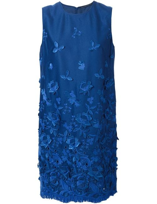 Ermanno Scervino | Женское Синий Fringed Hem Embroidered Dress
