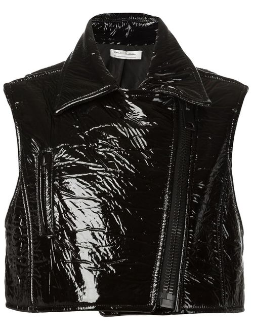 Vera Wang | Женское Чёрный Sleeveless Vinyl Biker Jacket