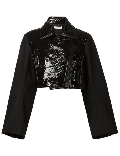 Vera Wang | Женская Чёрная Байкерская Куртка С Виниловой Панелью