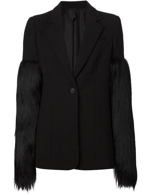 Vera Wang | Женское Чёрный Panelled Fur Sleeve Blazer