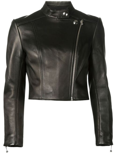 Alexander Wang | Женская Чёрная Укороченная Байкерская Куртка