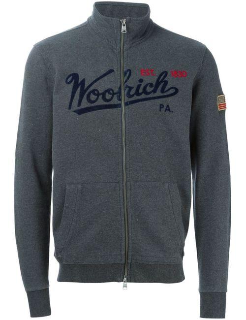 Woolrich | Мужская Серая Спортивная Куртка С Вышивкой Логотипа