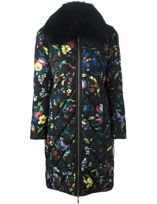 MONCLER X ERDEM | Женское Чёрное Дутое Пальто С Цветочным Принтом