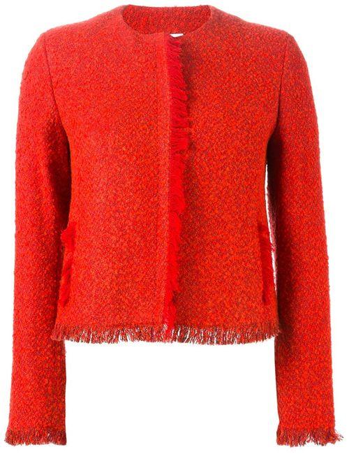 Akris | Женский Красный Твидовый Пиджак С Бахромой