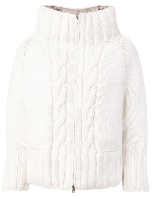 Herno | Женская Белая Дутая Куртка Вязки Косичка