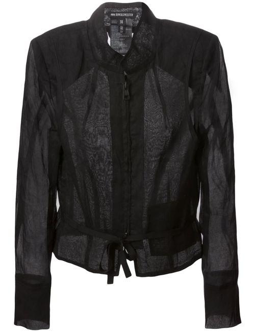 Ann Demeulemeester   Женская Чёрная Прозрачная Куртка На Молнии