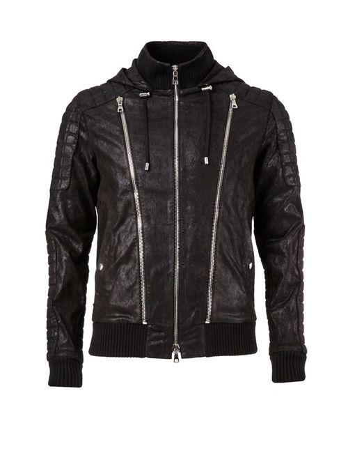 Balmain | Мужская Чёрная Куртка С Молниями