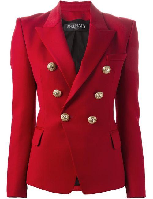 Balmain | Женский Красный Приталенный Пиджак