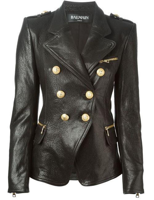 Balmain   Женская Чёрная Куртка В Стиле Милитари
