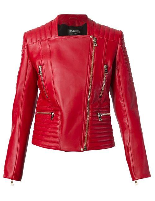 Balmain | Женская Красная Приталенная Байкерская Куртка