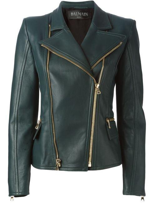 Balmain | Женское Зелёный Biker Jacket