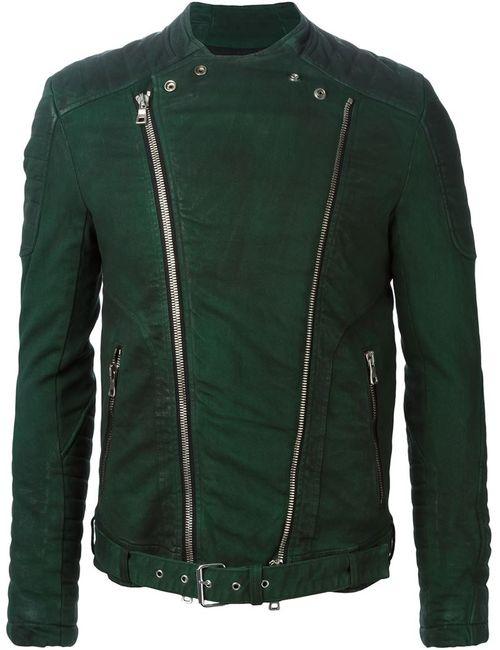 Balmain | Мужская Зелёная Байкерская Куртка