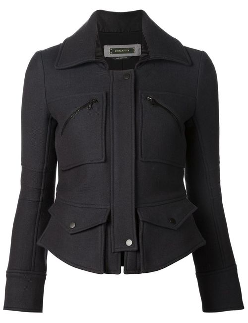 HELLESSY | Женская Чёрная Приталенная Куртка С Карманами