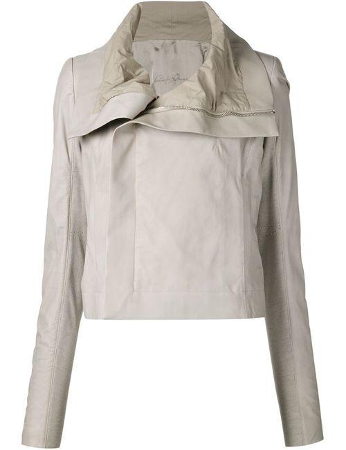 Rick Owens | Женская Белая Байкерская Куртка С Драпированным Воротником