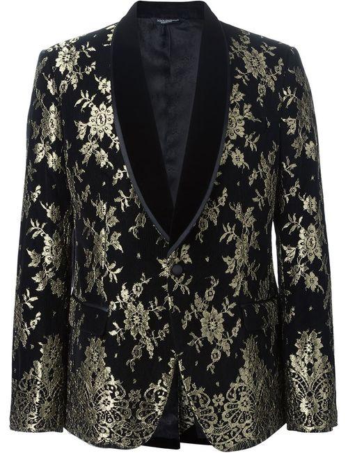 Dolce & Gabbana | Мужской Чёрный Пиджак Смокинг С Цветочным Жаккардовым Узором
