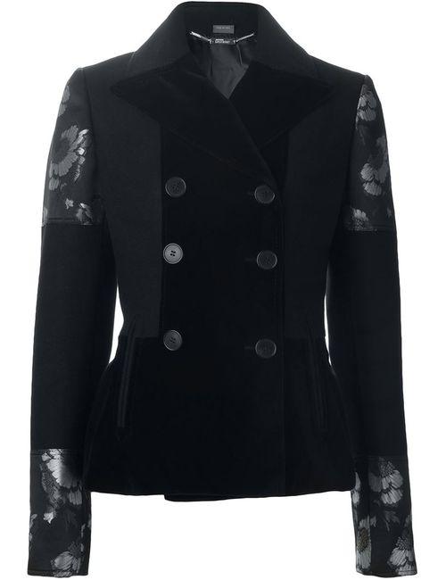 Alexander McQueen | Женский Чёрный Двубортный Пиджак С Рисунком Цветков Гибискуса