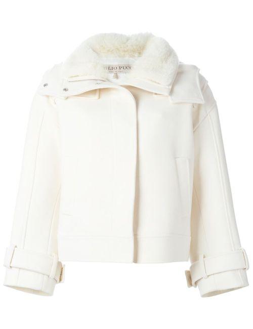 Emilio Pucci | Женская Белая Куртка С Меховым Воротником И Капюшоном