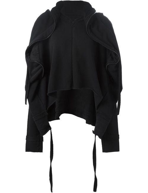 Barbara I Gongini | Женская Чёрная Драпированная Спортивная Куртка С Капюшоном