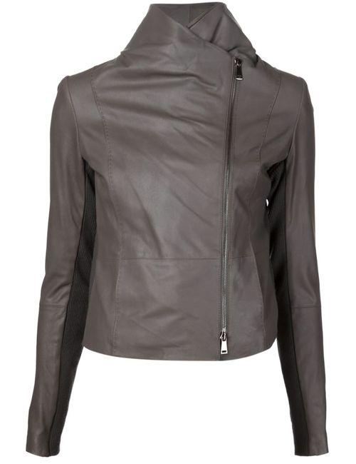 Vince | Женская Коричневая Куртка Со Смещенной Застежкой На Молнии