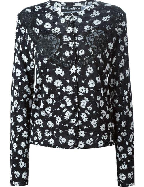 Dolce & Gabbana | Женский Чёрный Кардиган С Цветочным Принтом