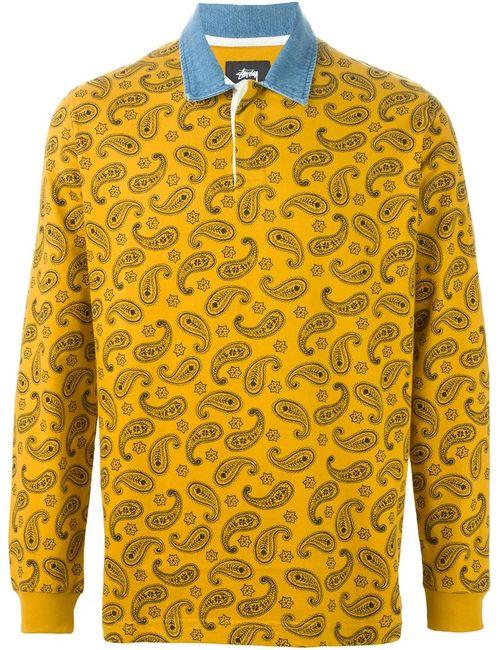 Stussy   Мужское Желтый Paisley Print Long Sleeve Polo Shirt