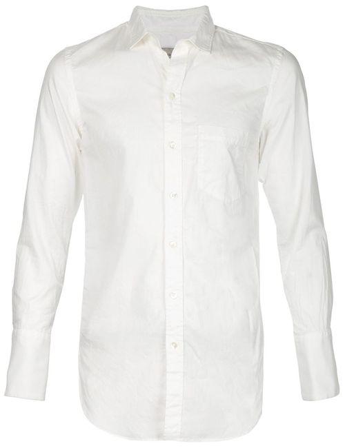 BED J.W. FORD | Мужская Белая Рубашка С Нагрудным Карманом