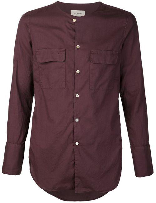 BED J.W. FORD | Мужская Красная Рубашка Без Воротника С Накладными Карманами