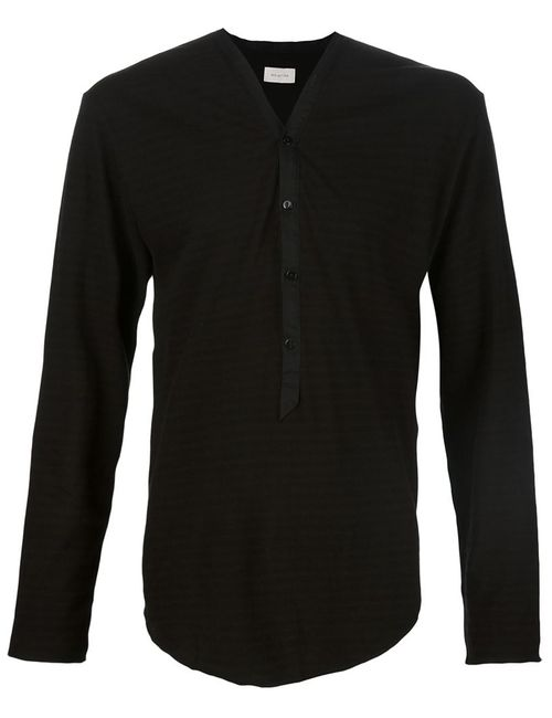 BED J.W. FORD | Мужская Чёрная Рубашка С V-Образным Вырезом