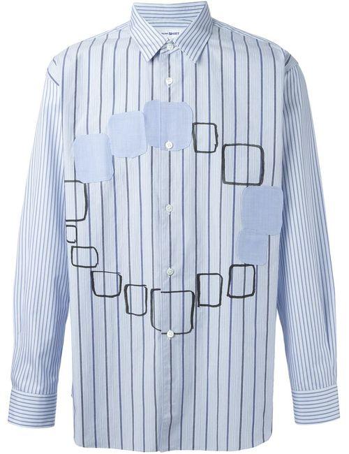 Comme Des Garcons | Мужская Синяя Рубашка В Полоску С Аппликациями
