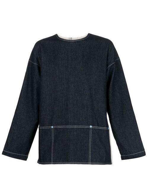 WALTER VAN BEIRENDONCK VINTAGE   Мужская Синяя Джинсовая Рубашка С Панельным Дизайном