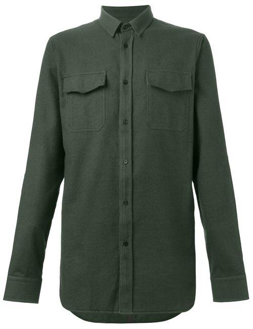 Balmain   Мужская Зелёная Классическая Рубашка
