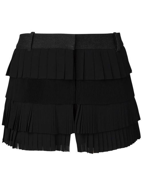 Vera Wang | Женское Чёрный Pleated Ruffle Shorts